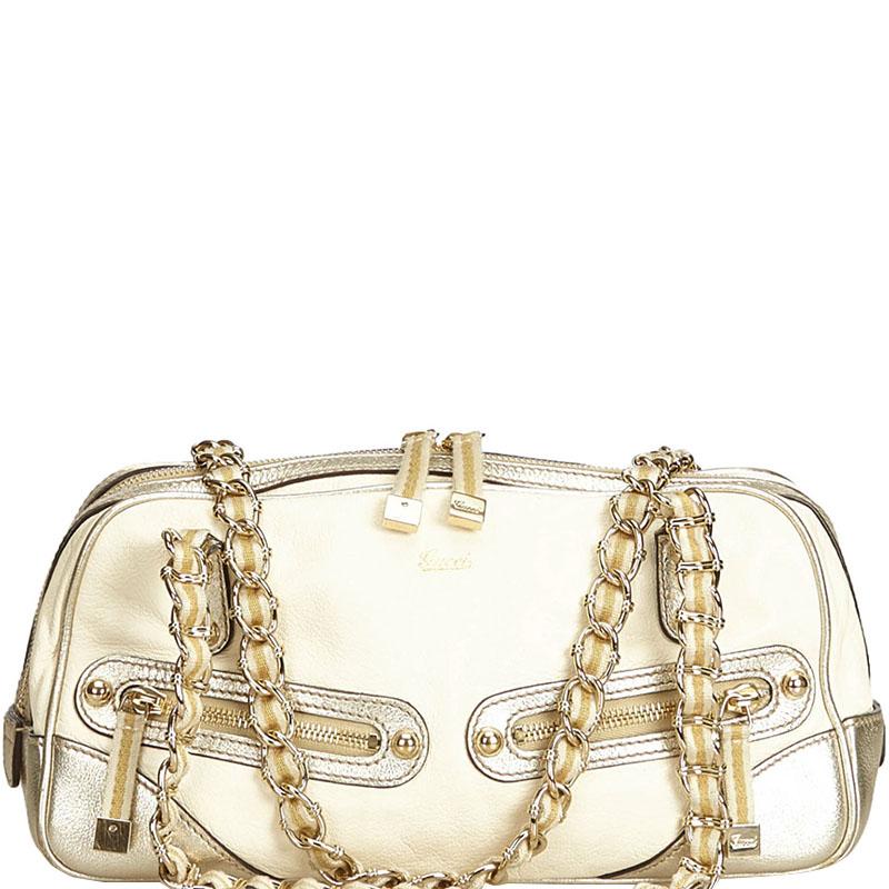 158b669208c3 ... Gucci White and Gold Leather Princy Shoulder Bag. nextprev. prevnext