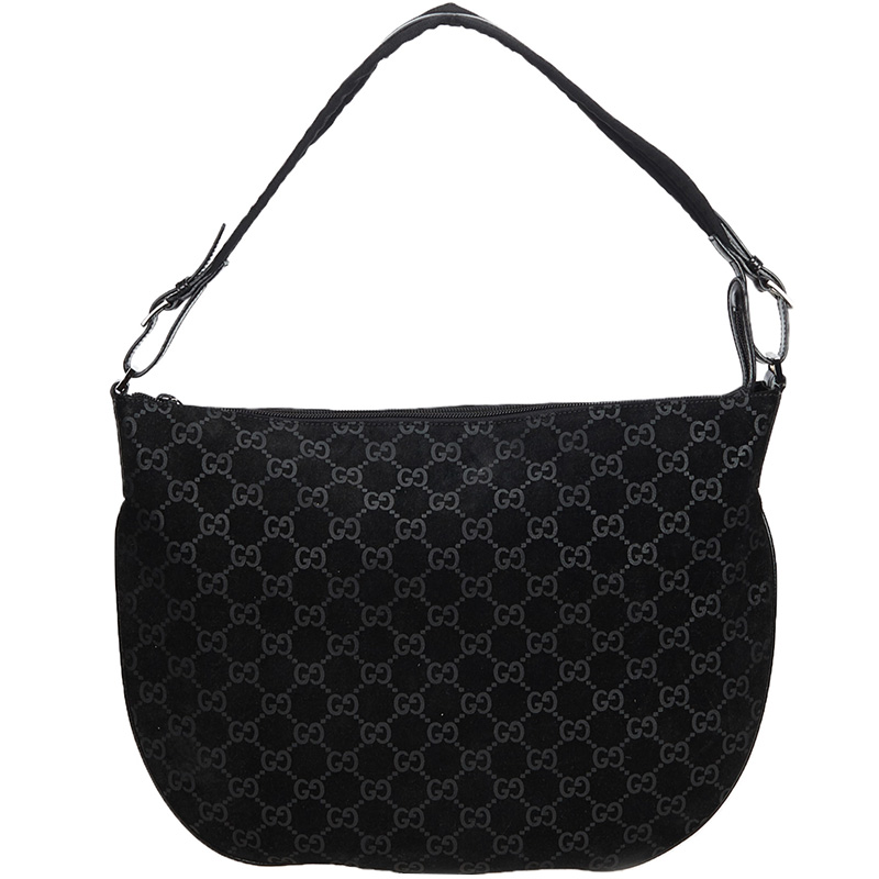 11279a5500d7 Buy Gucci Black Guccissima Suede Hobo Bag 165290 at best price | TLC
