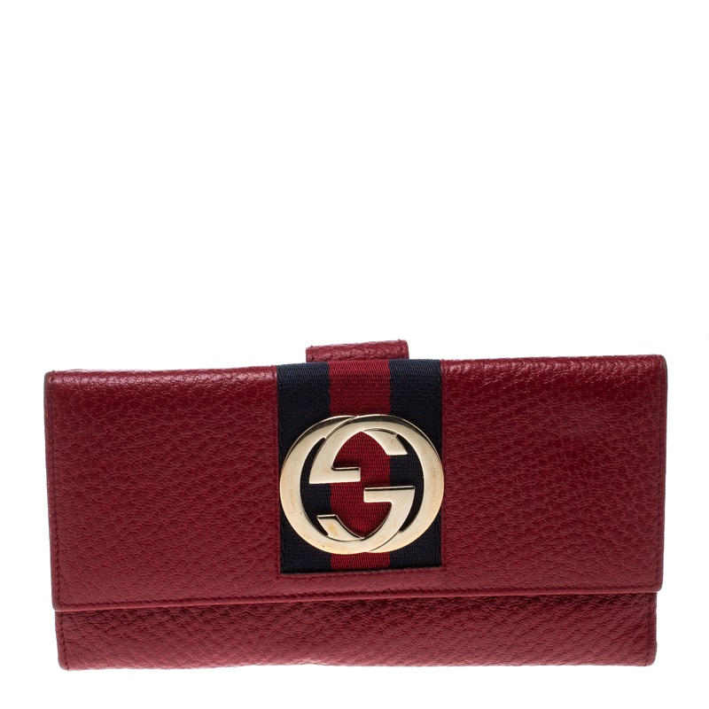 c42b3da321124c ... Gucci Red Leather Web GG Interlocking Continental Wallet. nextprev.  prevnext