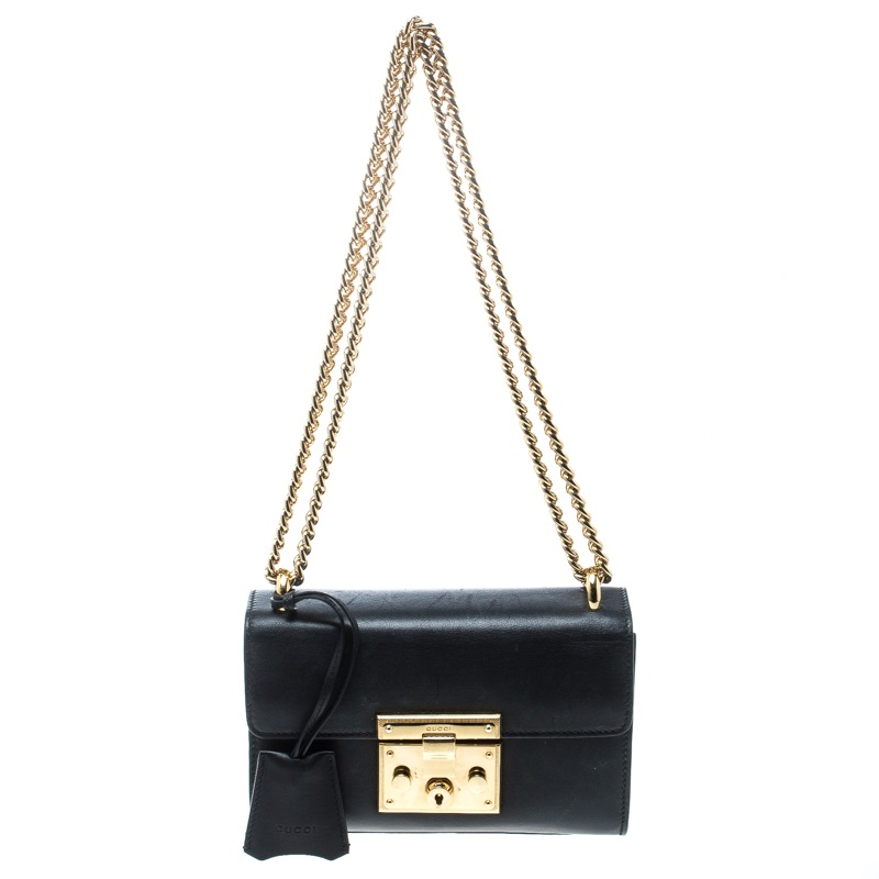 2bfc458cf5 ... Gucci Black Leather Small Padlock Shoulder Bag. nextprev. prevnext