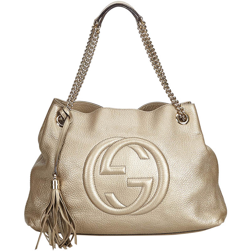 51cd7c5022c Buy Gucci Metallic Gold Soho Leather Chain Shoulder Bag 166935 at ...