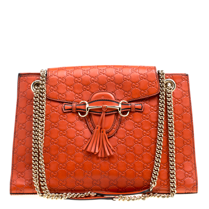 b7719f508c0 ... Gucci Dark Orange Guccissima Leather Large Emily Chain Shoulder Bag.  nextprev. prevnext