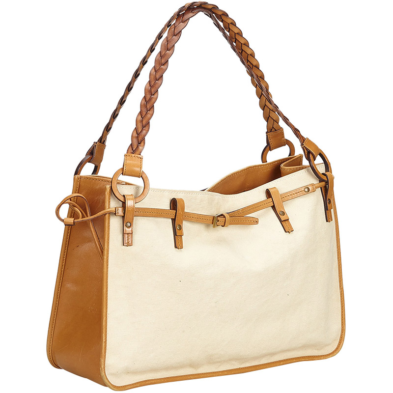 Gucci Ivory/Brown Canvas Tote Bag, Multicolor  - buy with discount