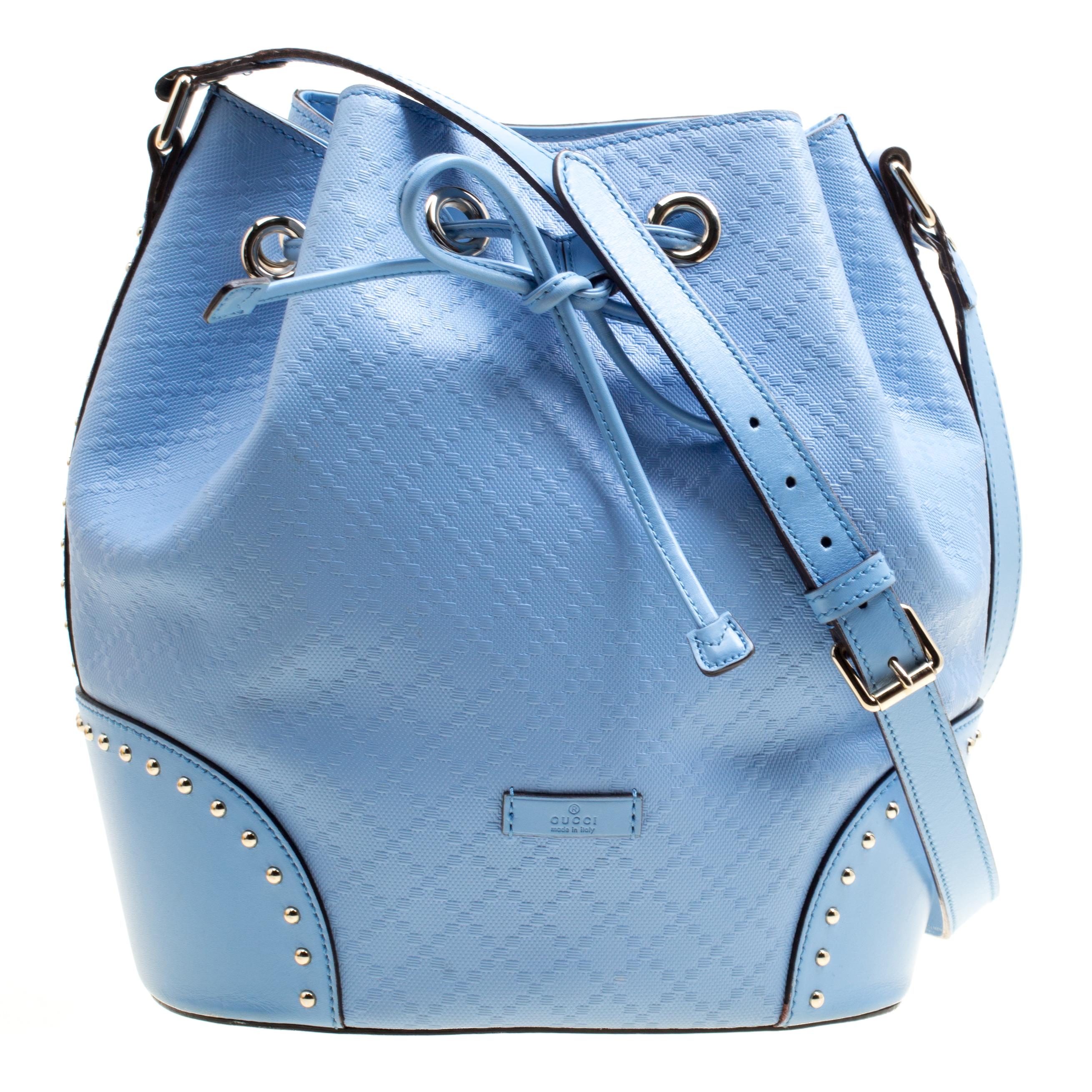53b2330edc3 Gucci Sky Blue Diamante Textured Leather Bucket Bag