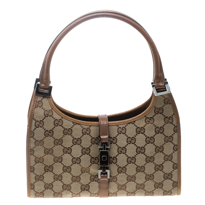 06837913c5db ... Gucci Beige/Brown GG Canvas and Leather Jackie O Hobo. nextprev.  prevnext