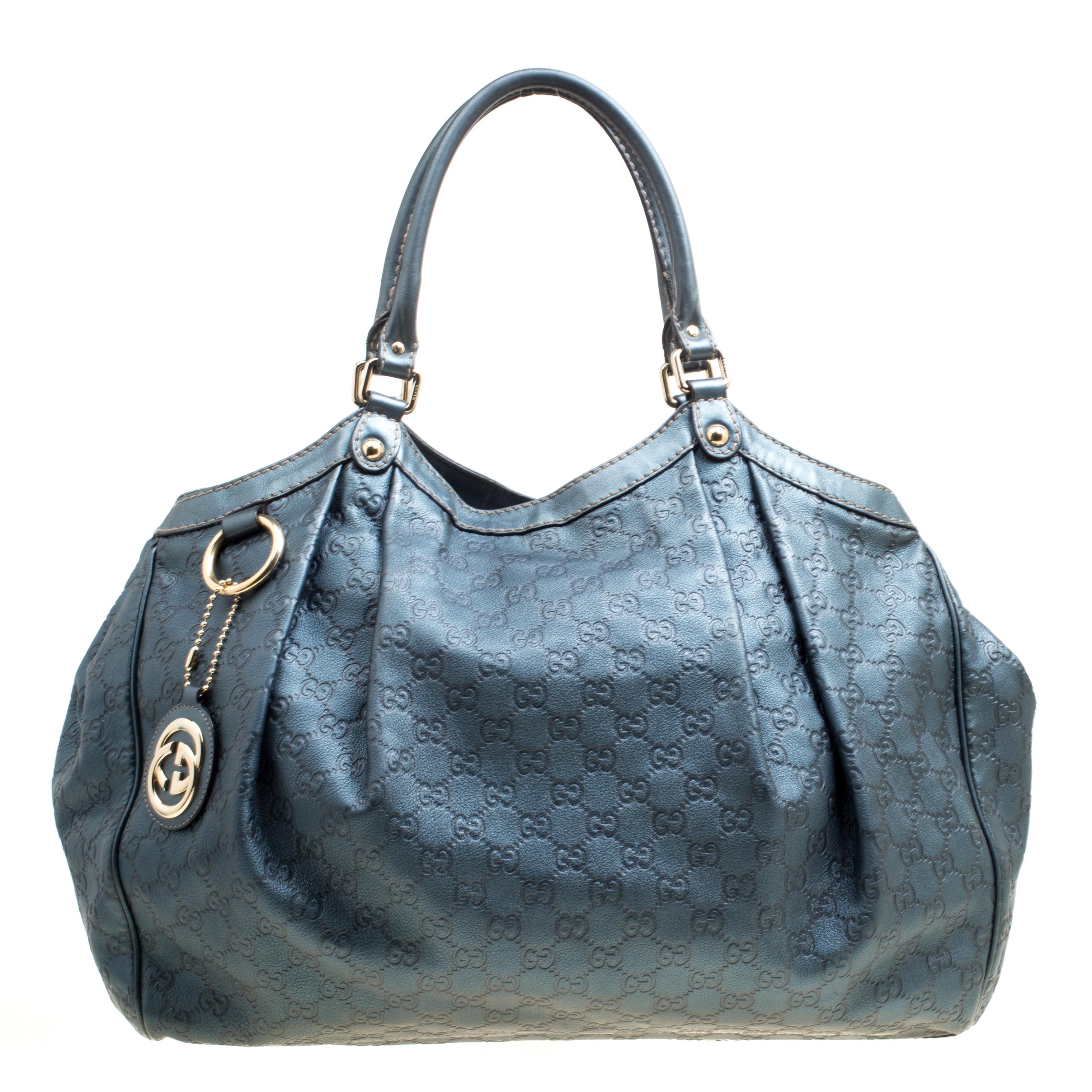 04222027e093 Buy Gucci Metallic Blue Guccissima Large Sukey Tote 167365 at best ...