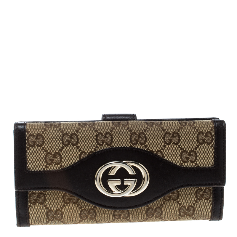 ed25ee4f06a Buy Gucci Beige Brown GG Canvas and Leather Sukey Continental Wallet ...