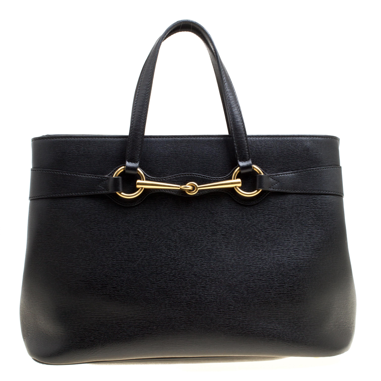 9455ad7d638 ... Gucci Black Leather Medium Bright Bit Top Handle Bag. nextprev. prevnext