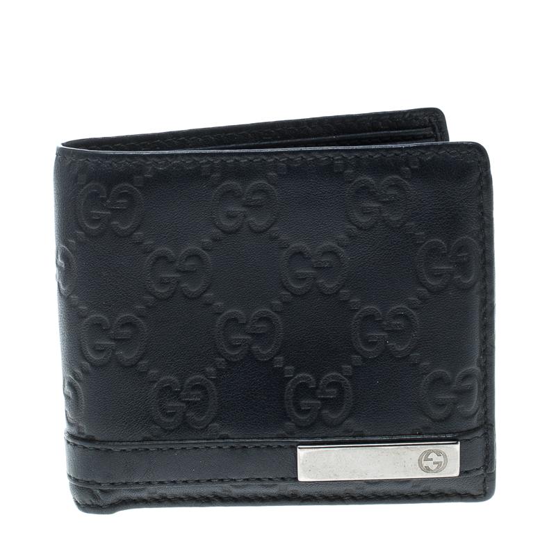 0ac068c05a91 ... Gucci Dark Blue Guccissima Leather Metal Bar Bifold Wallet. nextprev.  prevnext