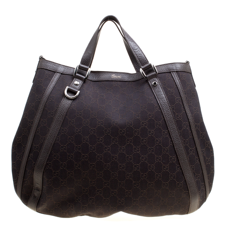 Gucci Dark Brown Gg Canvas And Leather Medium Abbey Top Handle Bag