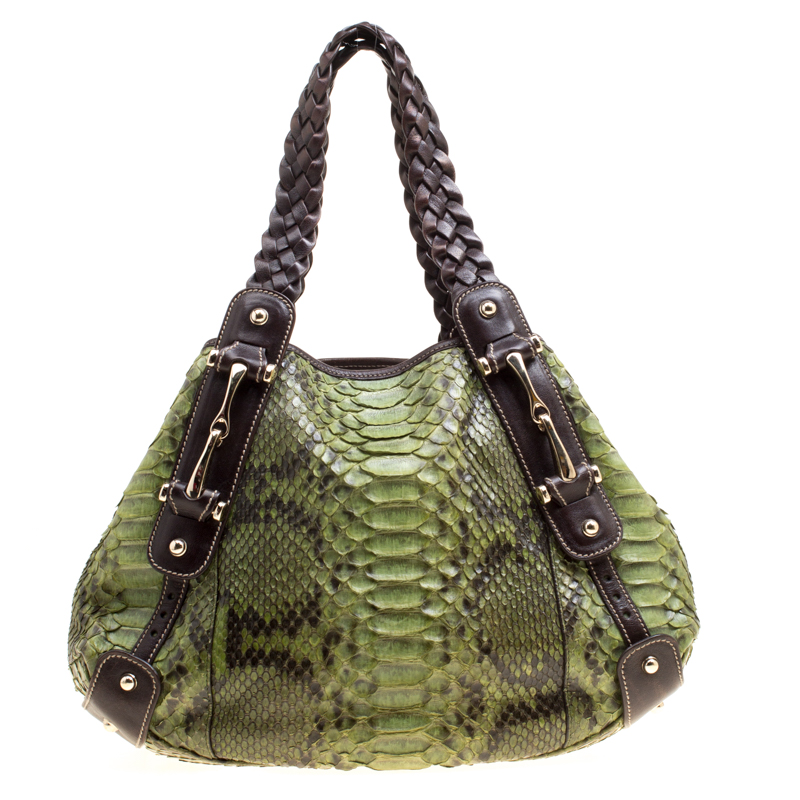 9ffd396c94 Buy Gucci Green Python Small Pelham Shoulder Bag 168157 at best ...
