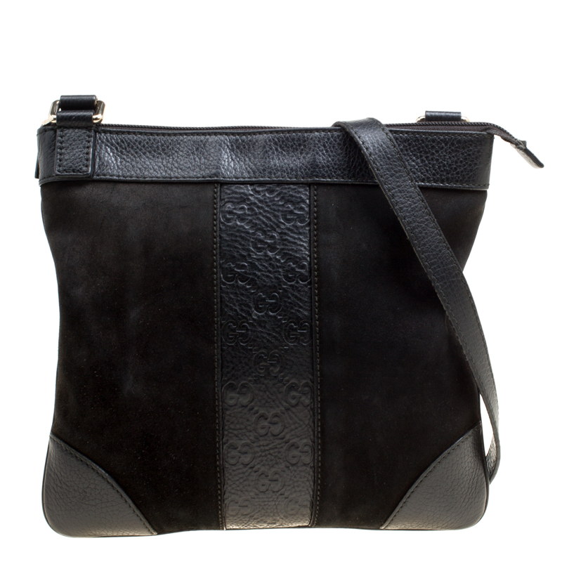 6f5370f7df6c ... Gucci Black Suede and Guccissima Leather Messenger Bag. nextprev.  prevnext