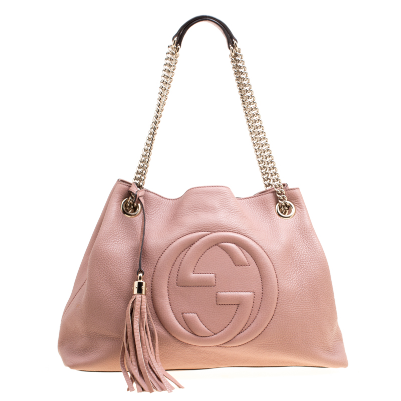 7b7d636c7a30 Buy Gucci Bubble Gum Leather Medium Soho Tote 168738 at best price | TLC