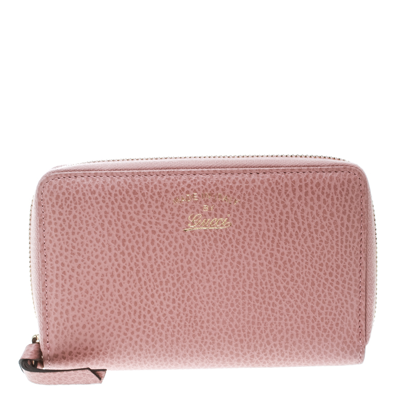 a798732ac9b9 Buy Gucci Pink Leather French Zip Around Wallet 171440 at best price ...