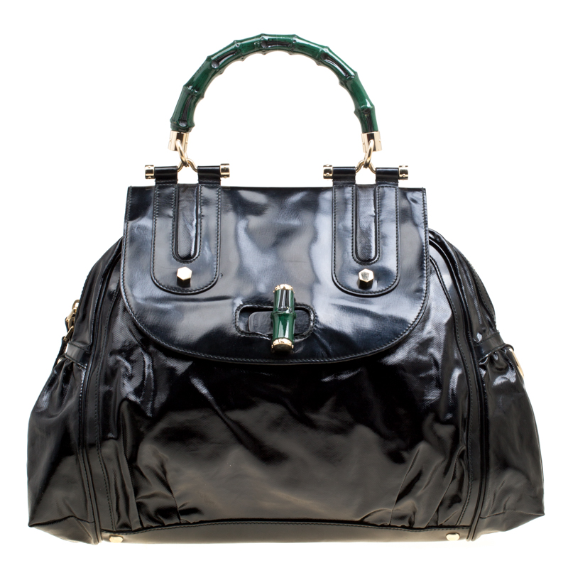 9b3e57e795b ... Gucci Black Coated Nylon and Leather Dialux Pop Bamboo Top Handle Bag.  nextprev. prevnext
