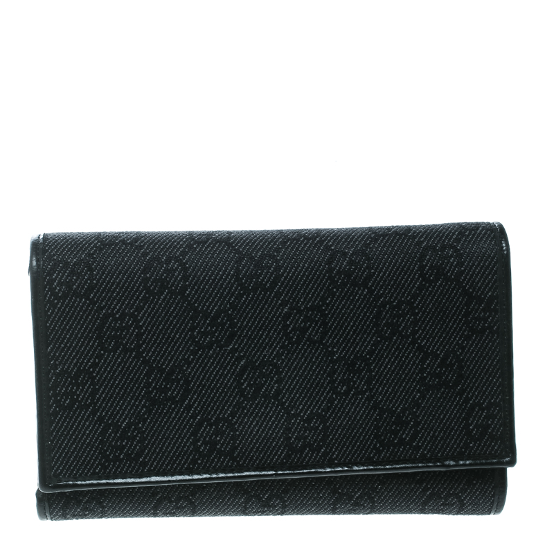 d06dc027eb3 Buy Gucci Black GG Fabric and Leather Trim Tri Fold Wallet 172454 at ...