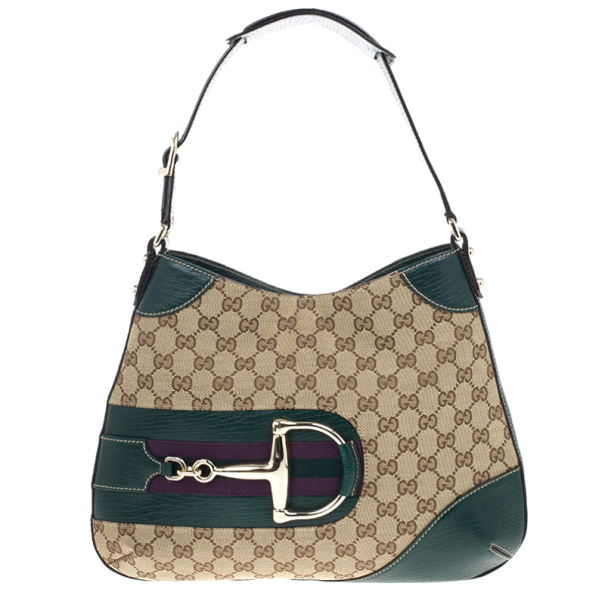 77b5473fa8f Gucci Green Gg Canvas Hasler Horsebit Shoulder Bag 17338 At Best