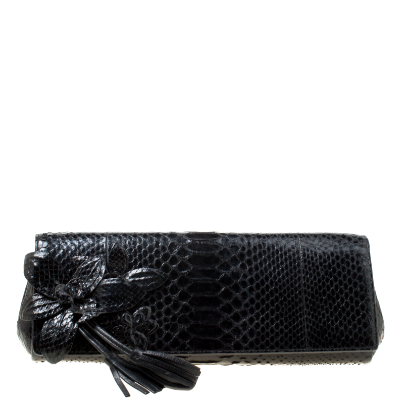 2d1f49ab07a Buy Gucci Black Python Glam Orchid Clutch 174210 at best price