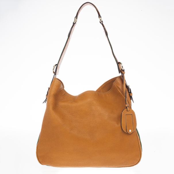 13aa5f0aa55 ... Gucci Brown Leather Gucci Heritage Web Striped Hobo. nextprev. prevnext