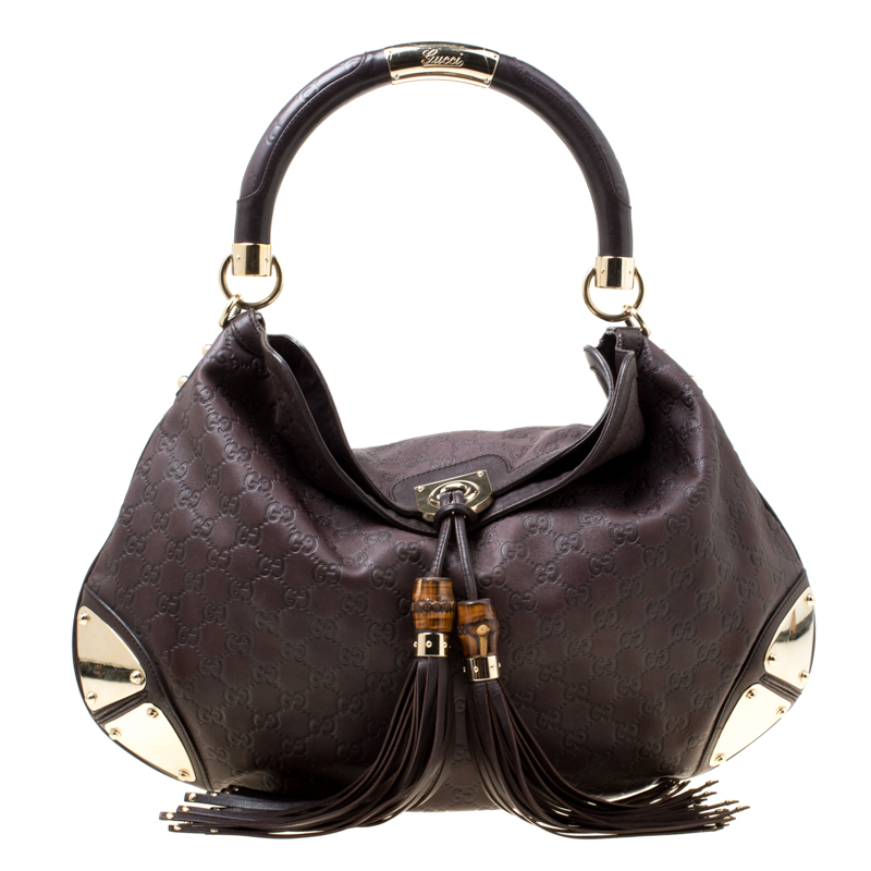 58acef5ba0a Gucci Brown Guccissima Leather Large Indy Top Handle Bag 174792