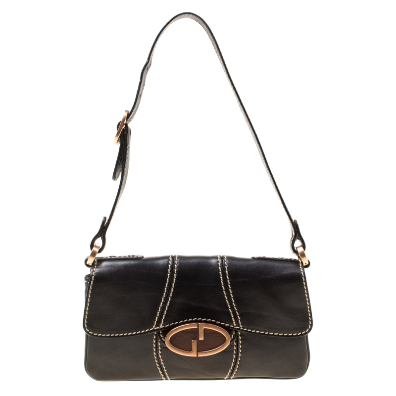 972788e5510 Buy Gucci Black Leather GG Buckle Detail Shoulder Bag 175217 at best ...