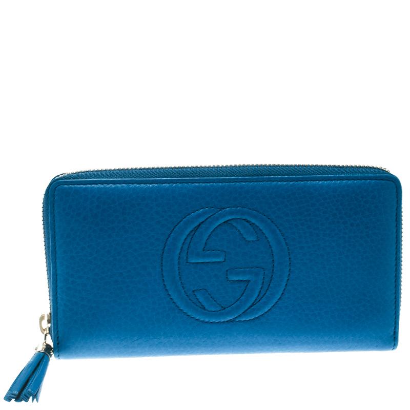 dfad32c48de382 Buy Gucci Blue Leather Soho Zip Around Wallet 175520 at best price | TLC
