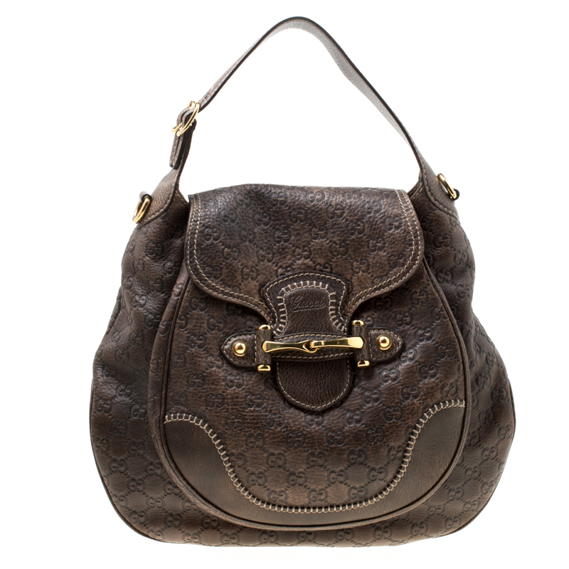 1aa42873d Buy Gucci Brown Leather Large New Pelham Horsebit Hobo 176200 at best price  | TLC