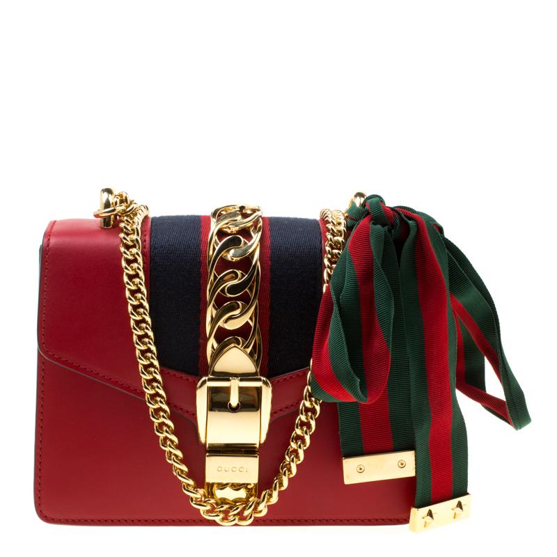 fd778db25c Gucci Red Leather Mini Web Chain Sylvie Shoulder Bag