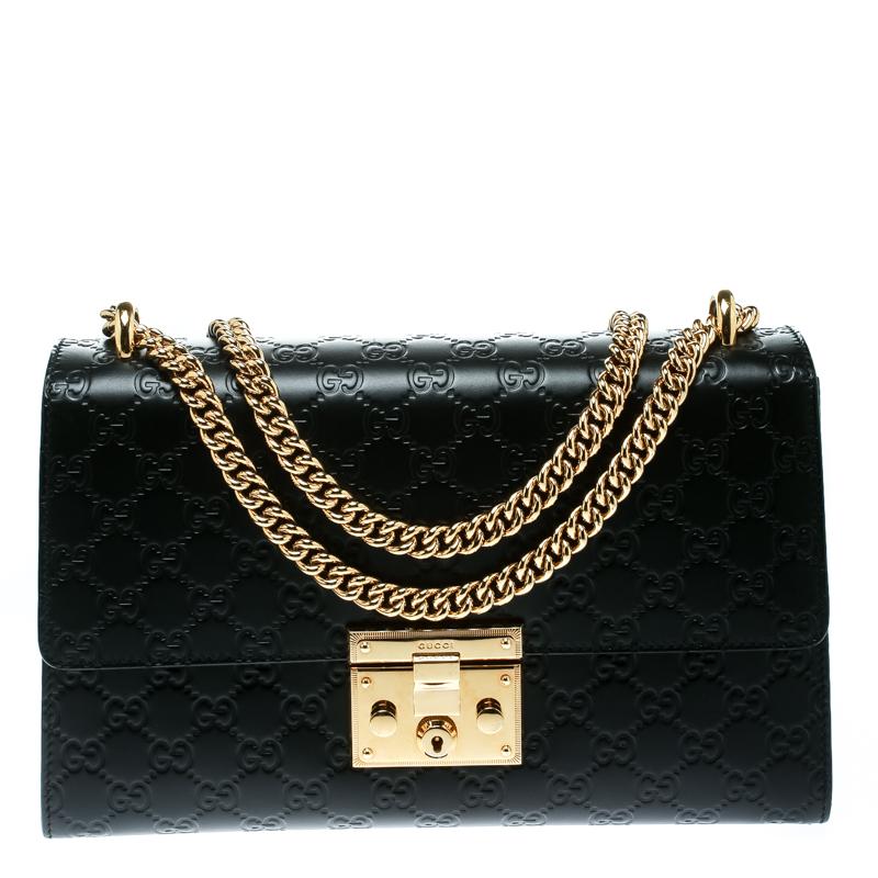 92e3b2bbdfc0 ... Gucci Black Guccissima Leather Medium Padlock Shoulder Bag. nextprev.  prevnext