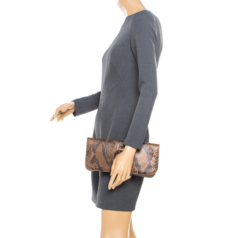 Gucci Brown Python and Leather Greenwich Clutch  - buy with discount