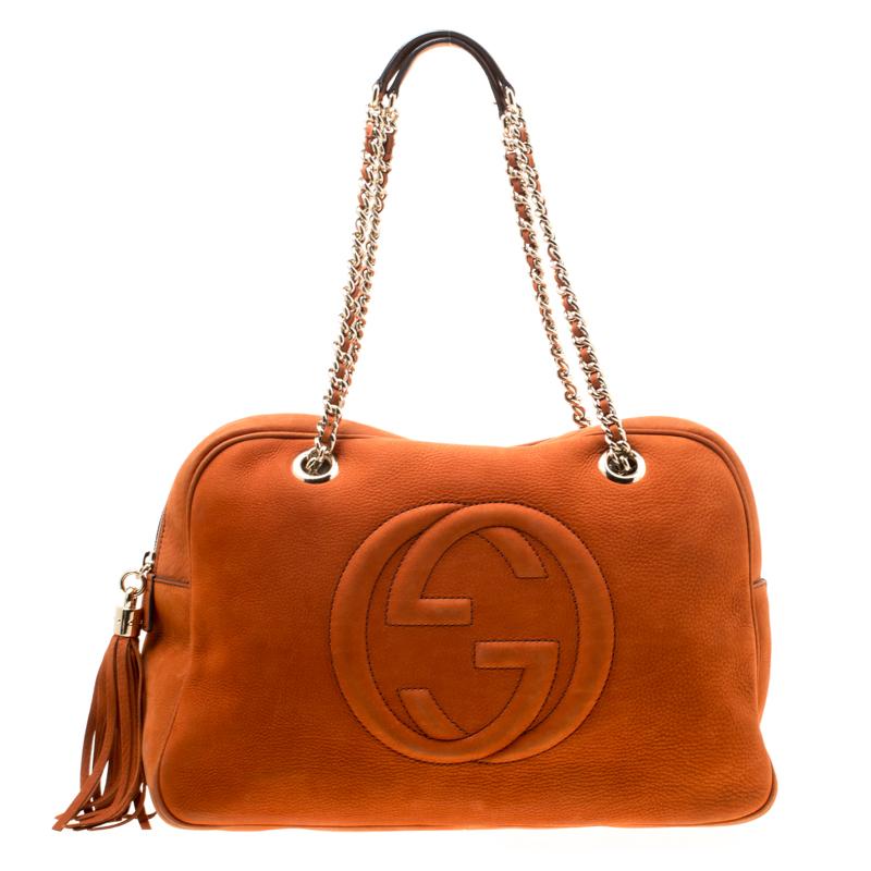 f0fcbc7589f7 ... Gucci Orange Nubuck Leather Soho Disco Chain Shoulder Bag. nextprev.  prevnext