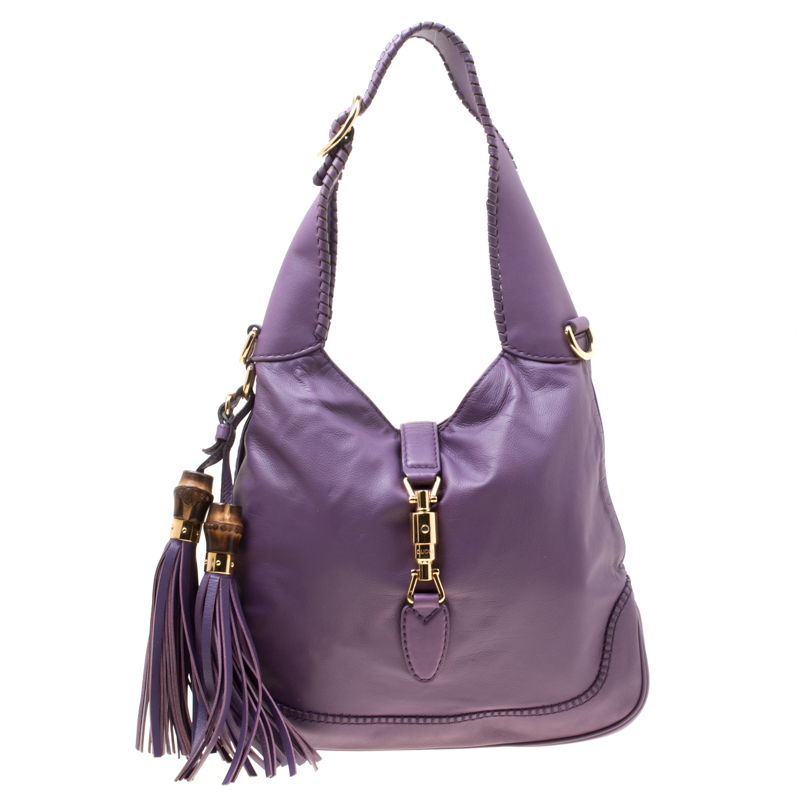 Gucci Purple Leather Medium New Jackie Shoulder Bag