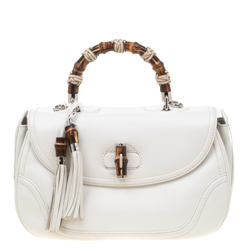 ce57ff1a59320e Gucci White Leather Large New Bamboo Tassel Top Handle bag. nextprev.  prevnext