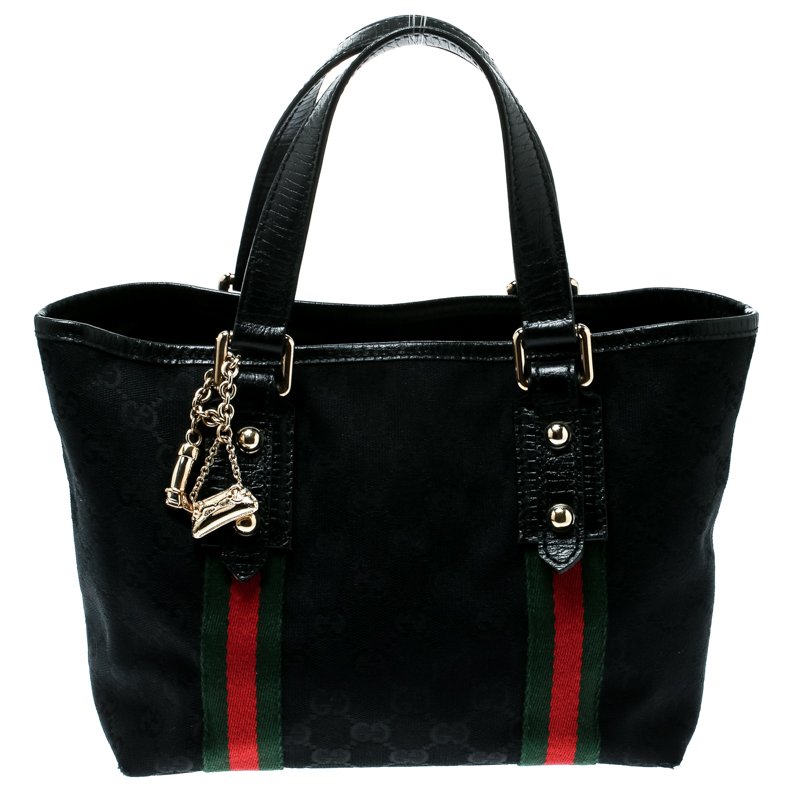 3d85d65f69b6 ... Gucci Black GG Canvas and Leather Mini Jolicoeur Web Tote. nextprev.  prevnext