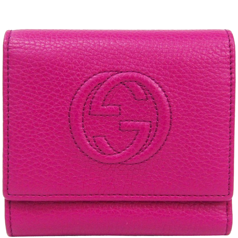 fdd2a3bbea9a ... Gucci Pink Pebbled Leather Soho Trifold Wallet. nextprev. prevnext