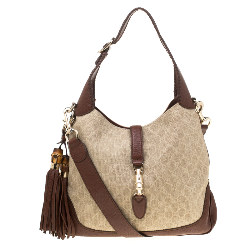237c24775856 ... Gucci Beige/Brown GG Canvas and Leather Medium New Jackie Hobo.  nextprev. prevnext