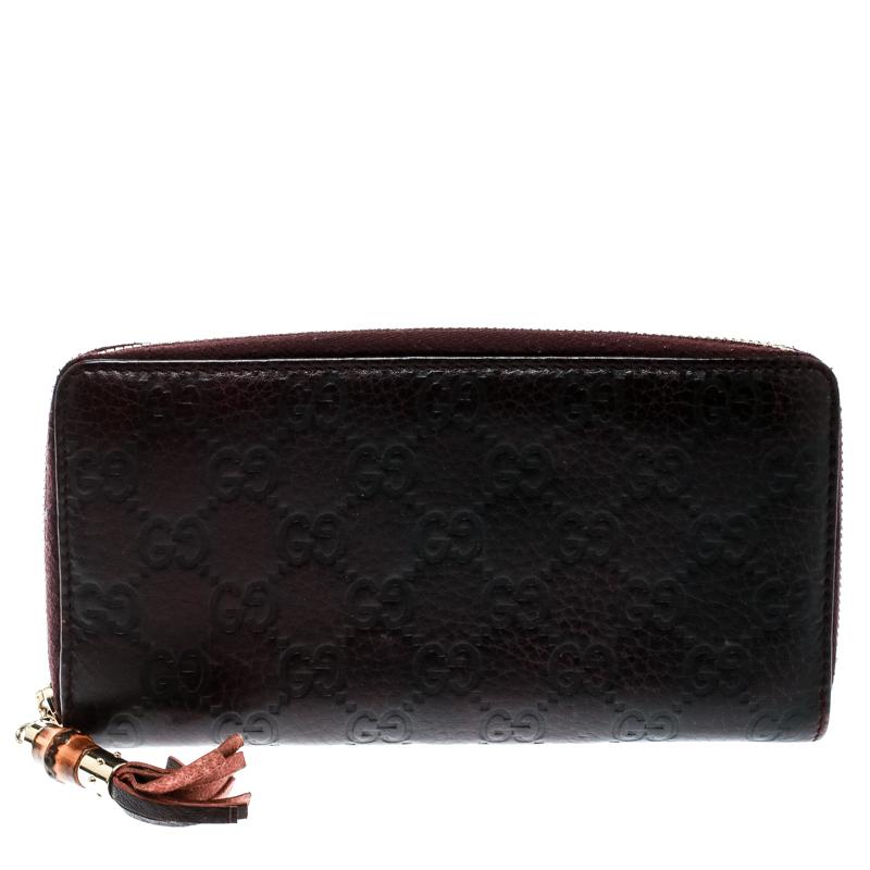5c32abc28d98 ... Gucci Burgundy Guccissima Leather Bamboo Tassel Zip Around Wallet.  nextprev. prevnext