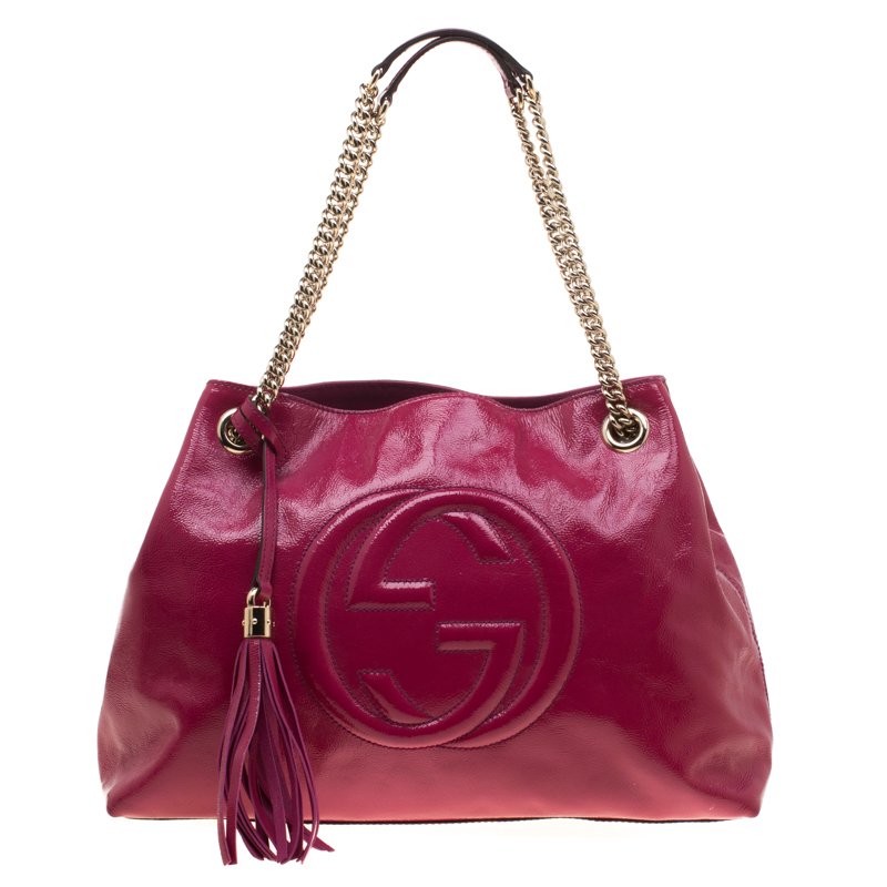 e51618ac21f1 Buy Gucci Pink Patent Leather Medium Soho Tote 182514 at best price ...