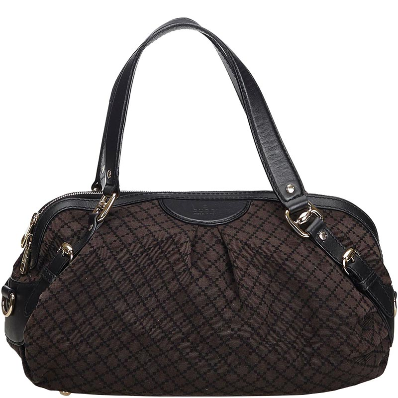6d7b6aa51fc599 Buy Gucci Brown Diamante Canvas Sukey Everyday Bag 182556 at best ...