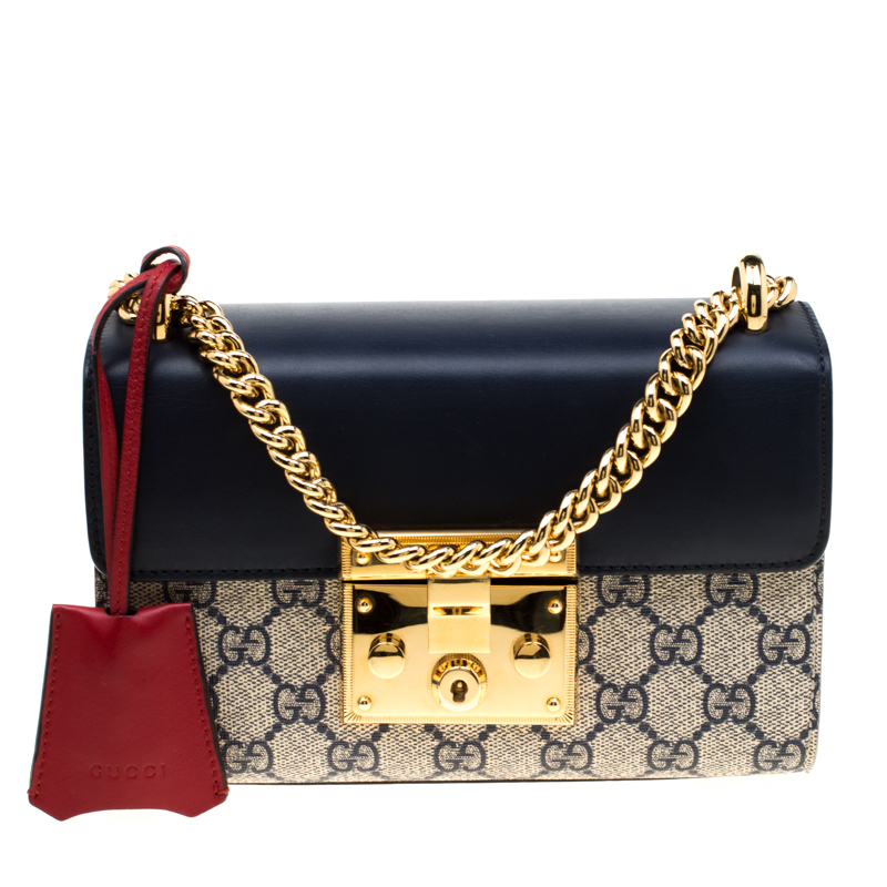 a2adc22ff ... Gucci Navy Blue Leather and GG Supreme Monogram Canvas Small Padlock  Shoulder Bag. nextprev. prevnext