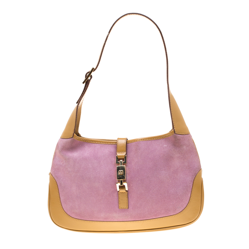 f9903dc7467 Gucci Brown Purple Suede And Leather Jackie Shoulder Bag 184576