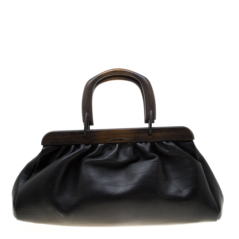 Gucci Black Leather Wooden Handle Satchel