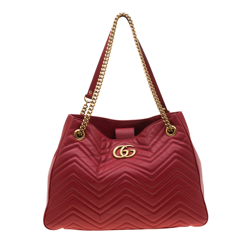 e19bc76c5 Buy Gucci Red Matelassé Leather Medium GG Marmont Tote 185672 at ...