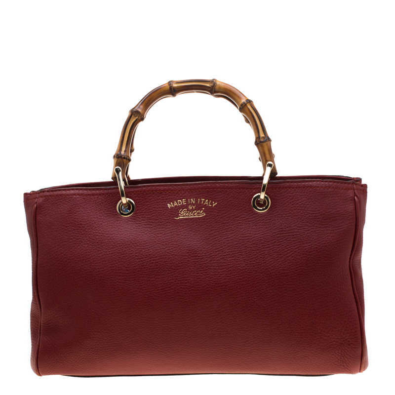 bc9e316ff ... Gucci Red Pebbled Leather Medium Bamboo Tote. nextprev. prevnext