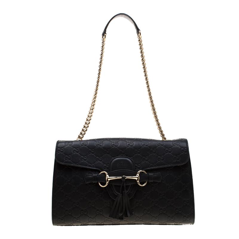 27e0fcc5291 ... Gucci Black Guccissima Leather Medium Emily Chain Shoulder Bag.  nextprev. prevnext