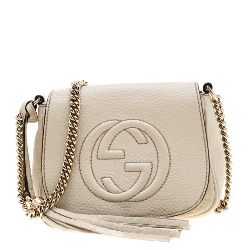 ce92595e Gucci Off White Leather Soho Chain Crossbody Bag