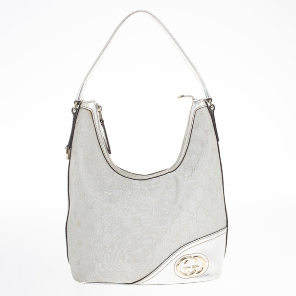 5041e6592fc Buy Gucci New Britt Silver Monogram Hobo 18717 at best price