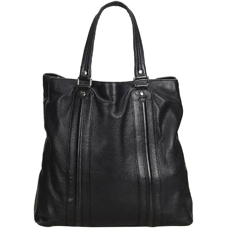 Pre Owned Gucci Black Leather Tote Bag