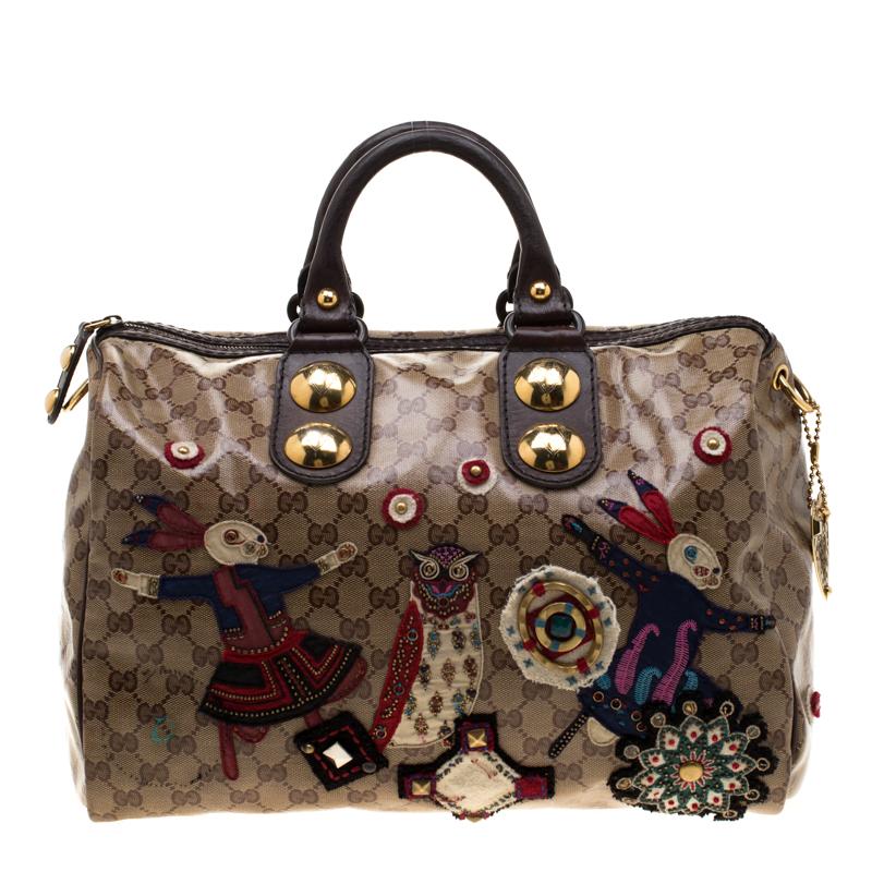 2ef62ec7aa ... Gucci Brown GG Crystal Coated Canvas Babouska Fable Boston Bag.  nextprev. prevnext
