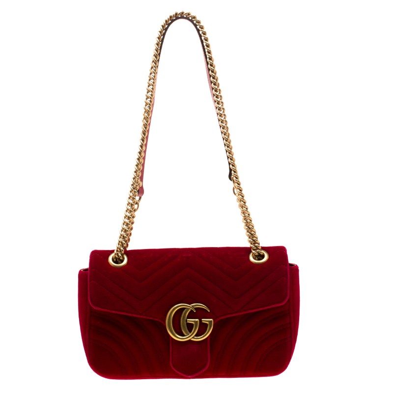 569b4f810d64 ... Gucci Red Matelasse Velvet Mini GG Marmont Shoulder Bag. nextprev.  prevnext